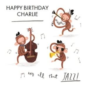 Greeting Cards - All That Jazz Three Monkeys Personalised Card - Image 1