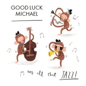 Greeting Cards - All That Jazz Monkeys Personalised Card - Image 1