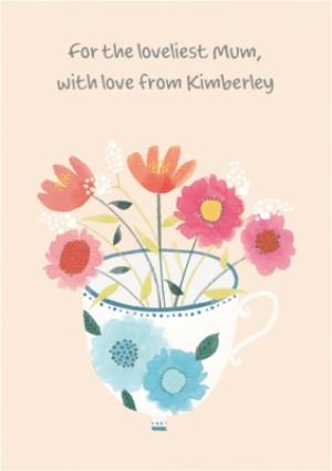 Greeting Cards - Lovely Flowers In A Teacup Mothers Day Card - Image 1