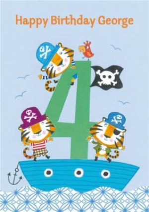 Greeting Cards - Lion Pirates Happy 4Th Birthday Card - Image 1