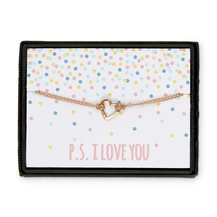 Jewellery & Accessories - P.S. I Love You Heart Rose Gold Bracelet - Image 1