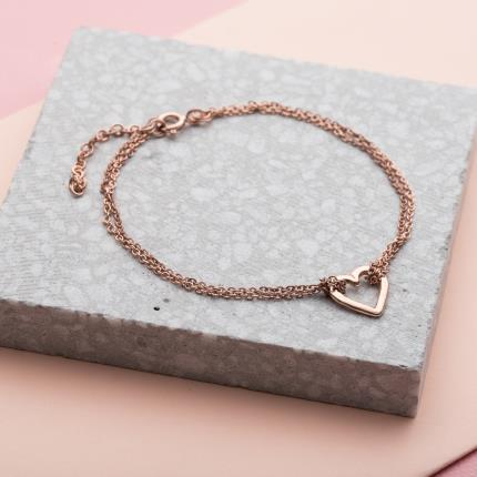 Jewellery & Accessories - P.S. I Love You Heart Rose Gold Bracelet - Image 2