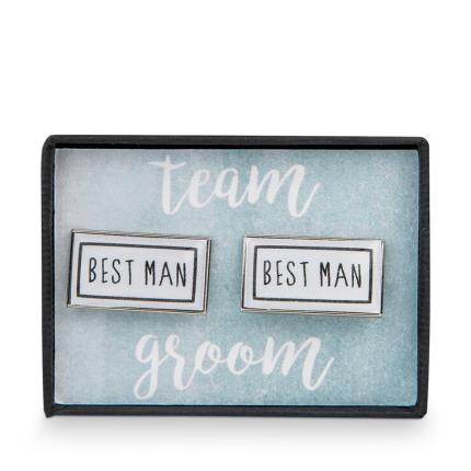 Jewellery & Accessories - Team Groom Best Man Rectangle Cufflinks - Image 1