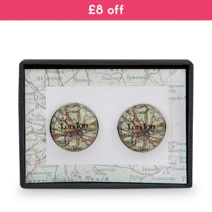 Jewellery & Accessories - Map Cufflinks - WAS £20 NOW £12 - Image 1
