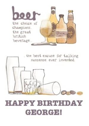 Greeting Cards - Beer The Choice Of Champions Happy Birthday Card - Image 1