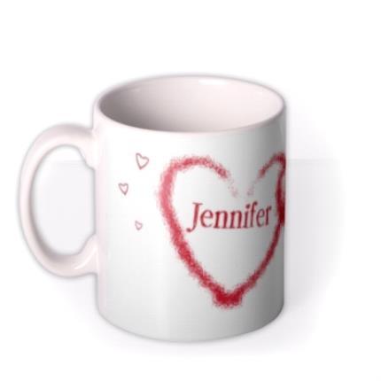 Mugs - Valentine's Day Double Red Heart Personalised Mug - Image 1