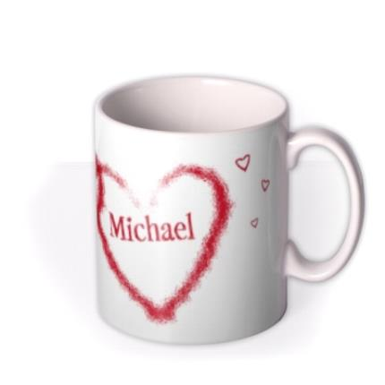 Mugs - Valentine's Day Double Red Heart Personalised Mug - Image 2