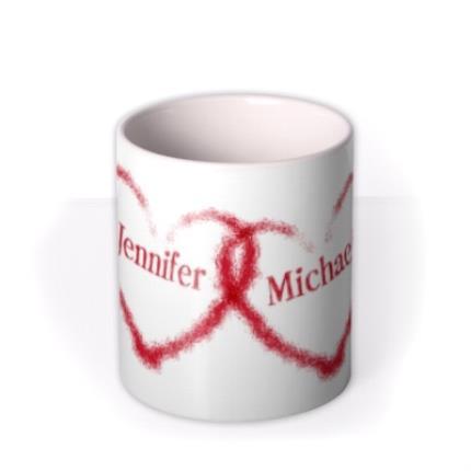 Mugs - Valentine's Day Double Red Heart Personalised Mug - Image 3