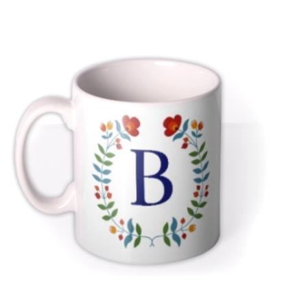 Mugs - Birthday Mug - floral - monogrammed - initial - Image 1