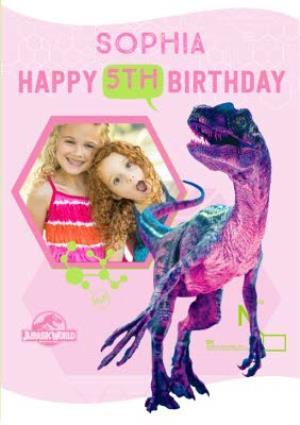 Greeting Cards - Jurassic World 5Th Birthday Photo Upload Card - Image 1