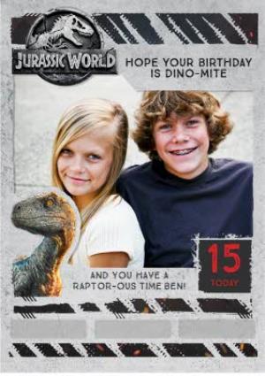 Greeting Cards - Birthday card - photo upload card - dinosaurs - jurassic world - raptor - Image 1