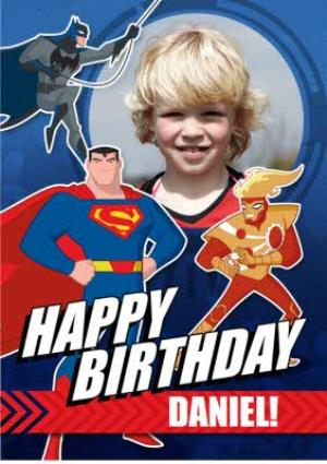 Greeting Cards - Justice League Photo Upload Happy Birthday Card - Image 1