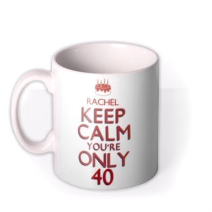 Mugs - Keep Calm 40 Personalised Mug - Image 1