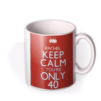 Mugs - Keep Calm 40 Personalised Mug - Image 2