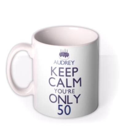 Mugs - Keep Calm 50 Personalised Mug - Image 1