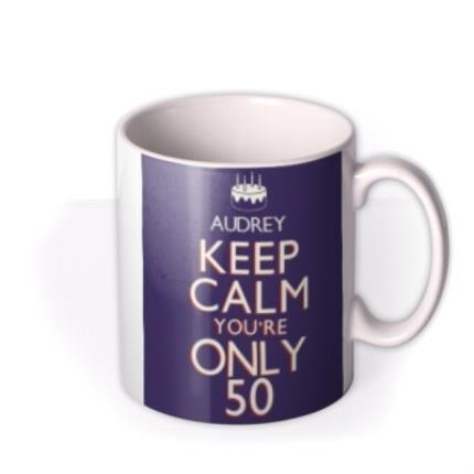 Mugs - Keep Calm 50 Personalised Mug - Image 2