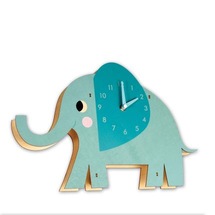 Toys & Games - Elvis the Elephant Wooden Wall Clock - Image 1