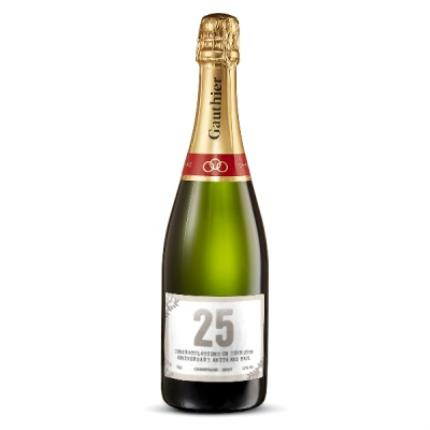 Alcohol Gifts -  Happy 25th Anniversary Personalised Gautier Champagne - Image 1