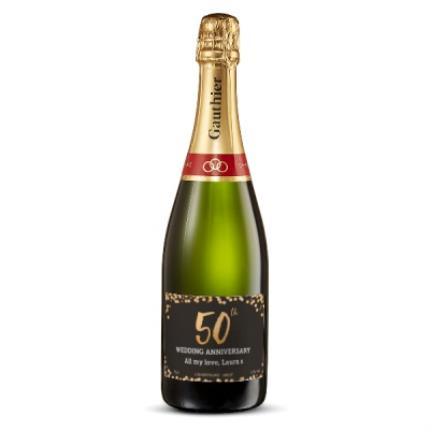 Alcohol Gifts -  Happy 50th Anniversary Personalised Gautier Champagne - Image 1