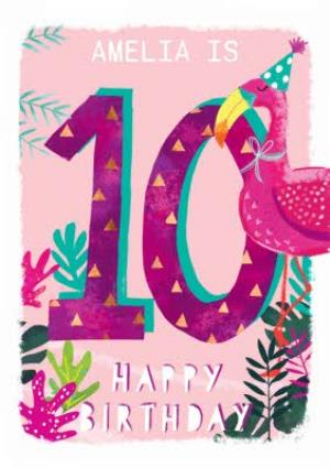Greeting Cards - Ling design - Kids Happy Birthday card - Flamingo - 10 Today - Image 1
