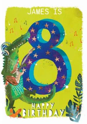 Greeting Cards - Ling design - Kids Happy Birthday card - Corcodile - 8 Today - Image 1