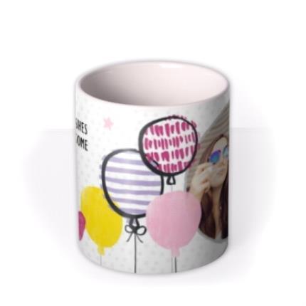 Mugs - Happy Birthday Arty Balloons Photo Upload Mug - Image 3