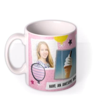 Mugs - Happy Birthday Doodles Pink Photo Upload Mug - Image 1