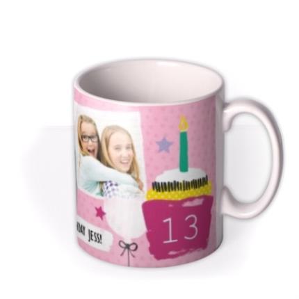 Mugs - Happy Birthday Doodles Pink Photo Upload Mug - Image 2