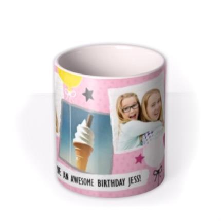 Mugs - Happy Birthday Doodles Pink Photo Upload Mug - Image 3