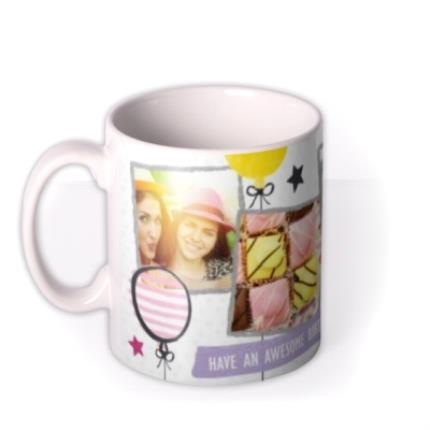 Mugs - Happy Birthday Doodles White Photo Upload Mug - Image 1