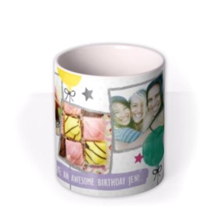 Mugs - Happy Birthday Doodles White Photo Upload Mug - Image 3
