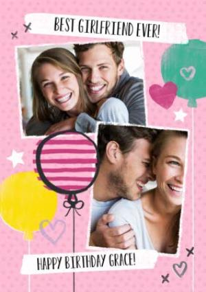 Greeting Cards - Balloons And Double Photo Upload Personalised Happy Birthday Card For Girlfriend - Image 1