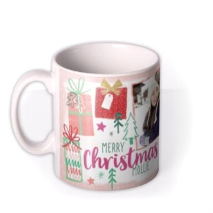 Mugs - Merry Christmas Wrapped Present Photo Upload Mug - Image 1