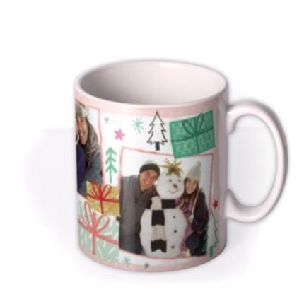 Mugs - Merry Christmas Wrapped Present Photo Upload Mug - Image 2