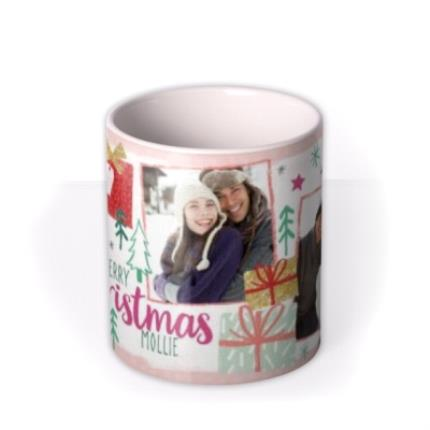 Mugs - Merry Christmas Wrapped Present Photo Upload Mug - Image 3