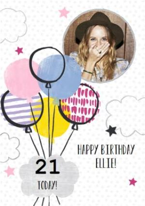 Multi Patterned Balloons Happy 21st Birthday Card