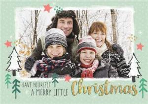 Greeting Cards - A Merry Little Christmas Photo Upload Card - Image 1
