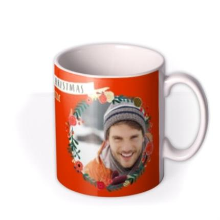 Mugs - Merry Christmas Wreath Photo Upload Mug - Image 2
