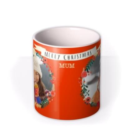 Mugs - Merry Christmas Wreath Photo Upload Mug - Image 3