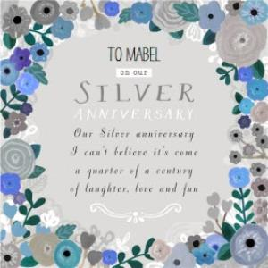 Greeting Cards - Blue Floral Border With Poem Personalised Silver Anniversary Card For Wife - Image 1