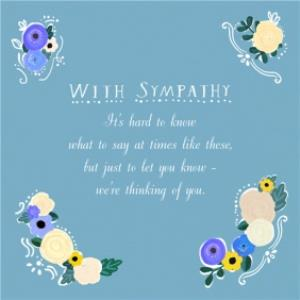 Greeting Cards - Blue With Floral Touches Personalised With Sympathy Card - Image 1