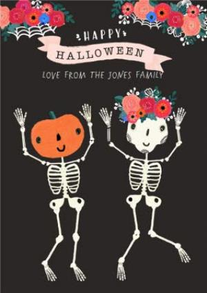 Greeting Cards - Illustrated Dancing Skeletons Personalised Halloween Card - Image 1