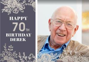 Greeting Cards - 70th Birthday Photo Upload Card  - Image 1