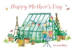 Greeting Cards - Illustrated Greenhouse In The Garden Personalised Mother's Day Card - Image 1