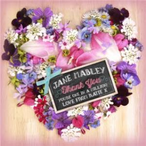 Greeting Cards - Heart Shaped Flower Arrangement With Chalkboard Style Tag Personalised Thank You Card - Image 1