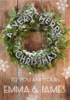 Greeting Cards - Merry Christmas Wreath Christmas Card - Image 1
