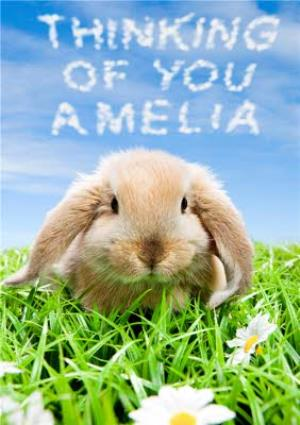 Greeting Cards - Limelight Personalised Thinking Of You Rabbit Card - Image 1