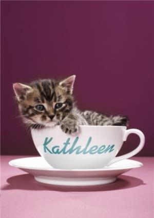 Greeting Cards - Kitten In a Teacup Birthday Card - Image 1