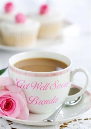 Greeting Cards - Afternoon Tea And Roses Personalised Get Well Soon Card - Image 1
