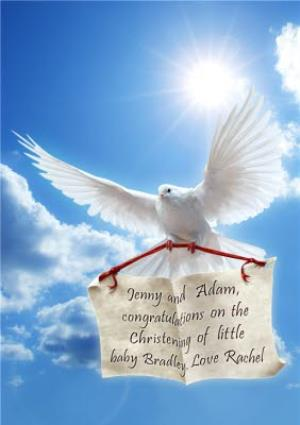 Greeting Cards - Message Delivered By White Dove Personalised Happy Christening Card - Image 1